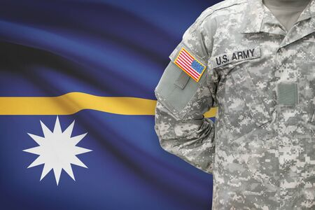 united states air force: American soldier with flag on background - Nauru Stock Photo