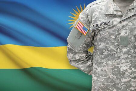 rwanda: American soldier with flag on background - Rwanda