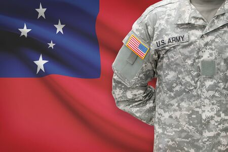 American soldier with flag on background - Samoa