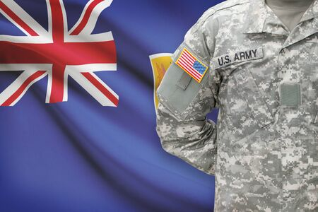 the turks: American soldier with flag on background - Turks and Caicos Islands Stock Photo