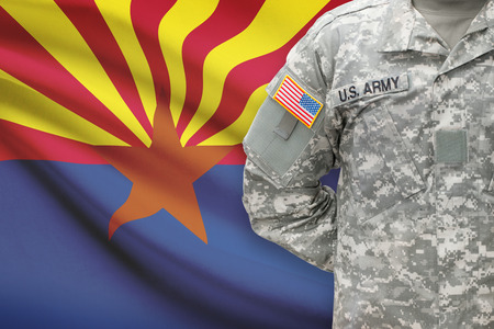 state of arizona: American soldier with US state flag on background - Arizona Stock Photo