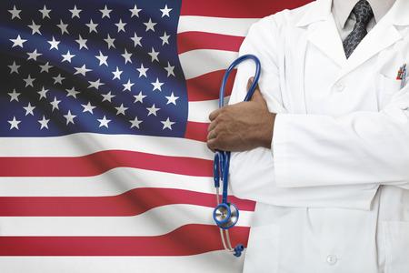 国民医療制度 - アメリカ合衆国の概念 写真素材
