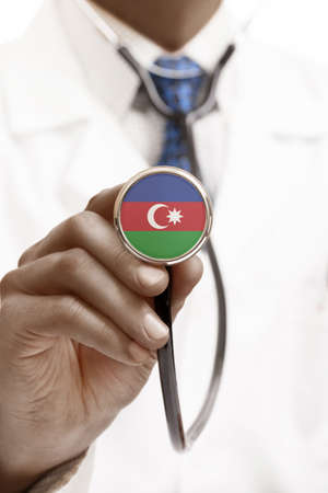 national trust: Stethoscope with national flag conceptual series - Azerbaijan