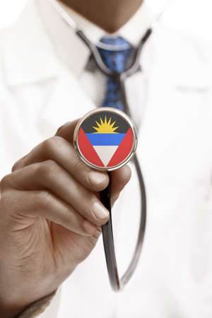 antigua: Stethoscope with national flag conceptual series - Antigua and Barbuda