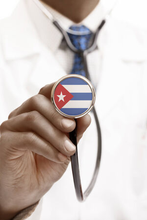national trust: Stethoscope with national flag conceptual series - Cuba
