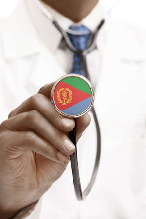 national trust: Stethoscope with national flag conceptual series - Eritrea Stock Photo