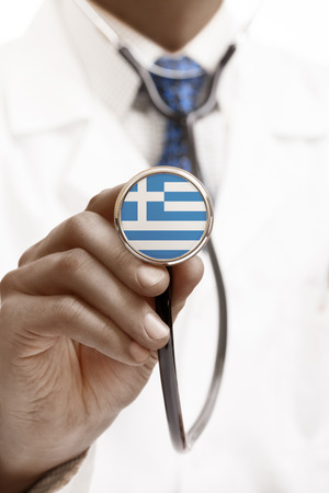 hellenic: Stethoscope with national flag conceptual series - Hellenic Republic - Greece
