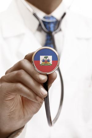haiti: Stethoscope with national flag conceptual series - Haiti