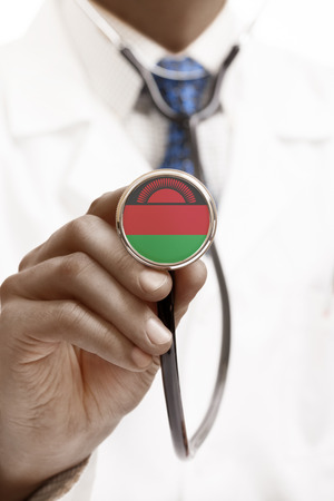malawian flag: Stethoscope with national flag conceptual series - Malawi