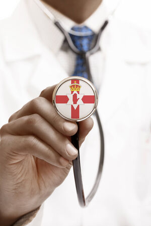 northern ireland: Stethoscope with national flag conceptual series - Northern Ireland Stock Photo