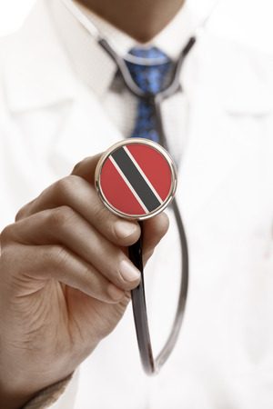 national flag trinidad and tobago: Stethoscope with national flag conceptual series - Trinidad and Tobago Stock Photo