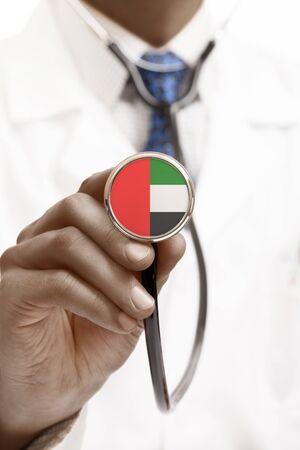 united arab emirates: Stethoscope with national flag conceptual series - United Arab Emirates