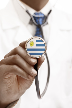 national trust: Stethoscope with national flag conceptual series - Uruguay