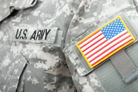 solders: Studio shot of US flag shoulder patch on solders uniform