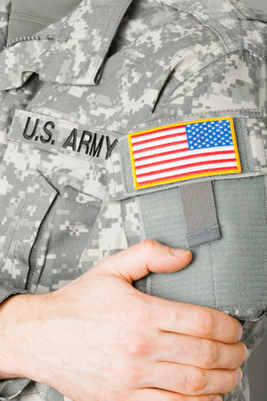 solders: USA flag shoulder patch on solders uniform