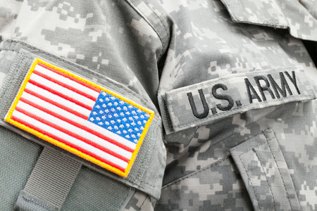 USA flag and U.S. Army patch on solders uniform
