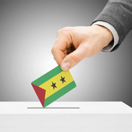 plebiscite: Voting concept - Male inserting flag into ballot box - Sao Tome and Principe Stock Photo