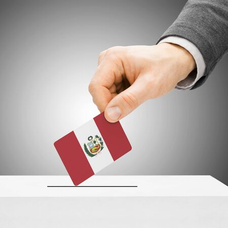 political system: Voting concept - Male inserting flag into ballot box - Peru