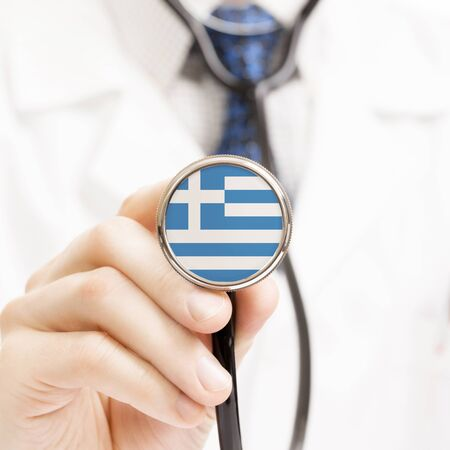 hellenic: National flag on stethoscope conceptual series - Greece - Hellenic Republic Stock Photo