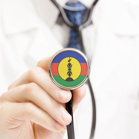 new caledonia: National flag on stethoscope conceptual series - New Caledonia Stock Photo