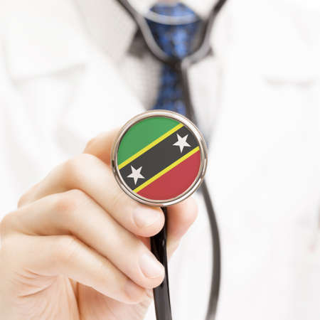 christopher: National flag on stethoscope conceptual series - Federation of Saint Christopher and Nevis Stock Photo