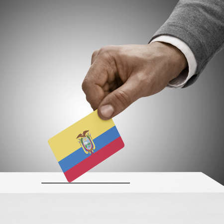 electoral system: Black male holding Ecuador flag. Voting concept