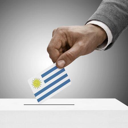 uruguay flag: Black male holding Uruguay flag. Voting concept