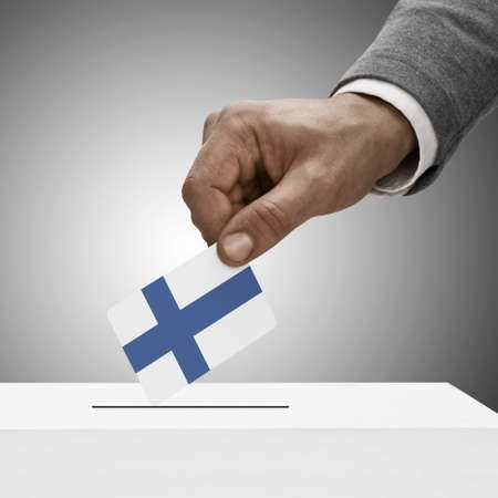 electoral system: Black male holding Finland flag. Voting concept