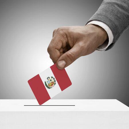 electoral system: Black male holding flag. Voting concept - Peru