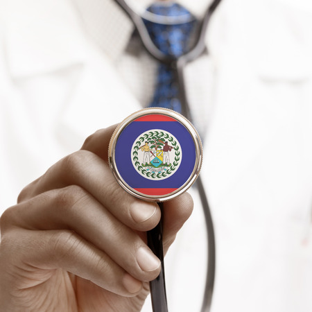 belize: Stethoscope with national flag conceptual series - Belize