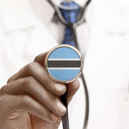 botswanan: Stethoscope with national flag conceptual series - Botswana