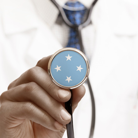 federated: Stethoscope with national flag conceptual series - Federated States of Micronesia