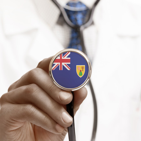 the turks: Stethoscope with national flag conceptual series - Turks and Caicos Islands Stock Photo