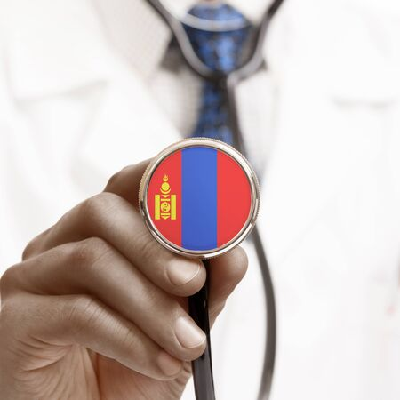 Stethoscope with national flag conceptual series - Mongolia photo