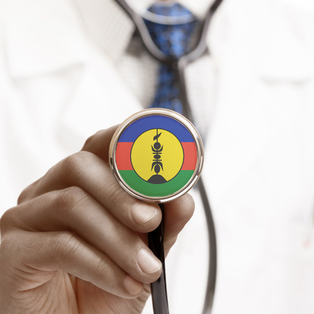 new caledonia: Stethoscope with national flag conceptual series - New Caledonia