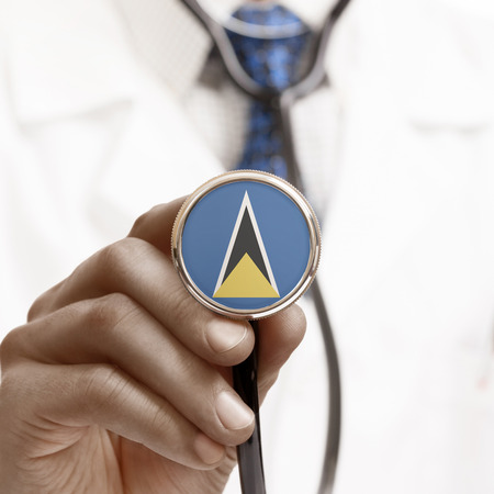saint lucia: Stethoscope with national flag conceptual series - Saint Lucia Stock Photo
