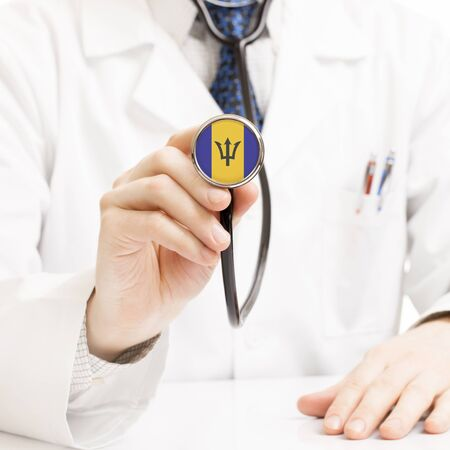 barbadian: Doctor holding stethoscope with flag series - Barbados