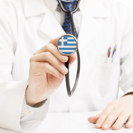hellenic: Doctor holding stethoscope with flag series - Greece - Hellenic Republic Stock Photo