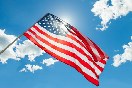 USA flag with clouds - outdoors shoot