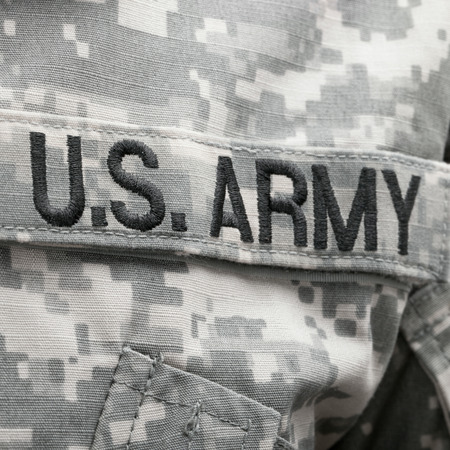 solders: USA flag and US Army patch on solders uniform Stock Photo