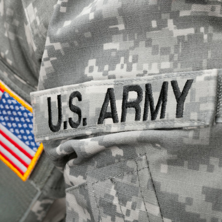 solders: US Army and flag patch on solders uniform