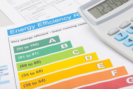 electric energy: Colorful energy efficiency chart and calculator