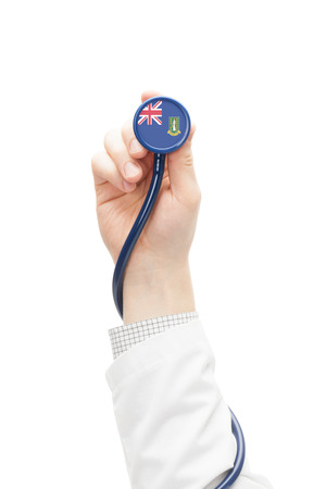 virgin islands: Stethoscope with national flag conceptual series - British Virgin Islands