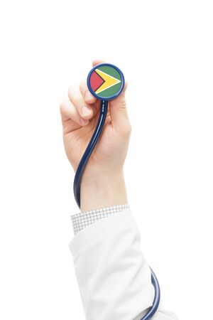 guyana: Stethoscope with national flag conceptual series - Guyana Stock Photo