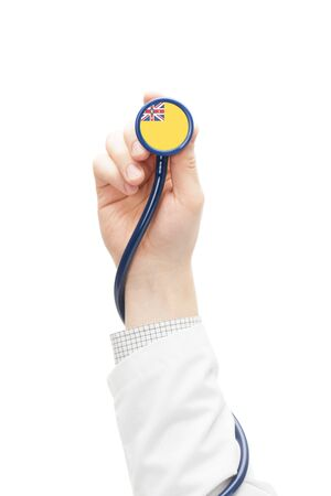 niue: Stethoscope with national flag conceptual series - Niue