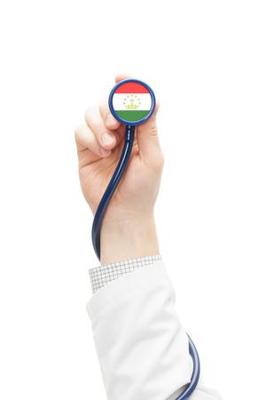 tajikistan: Stethoscope with national flag conceptual series - Tajikistan
