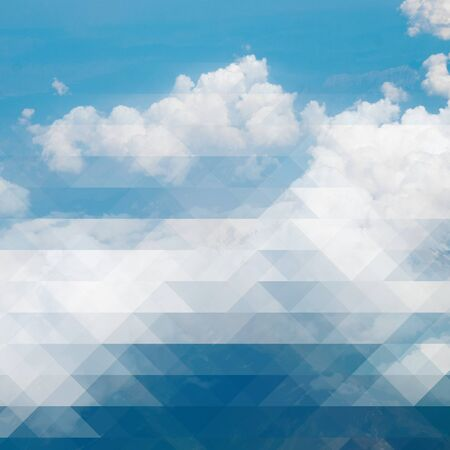 Clouds and blue sky - creative mosaic background photo