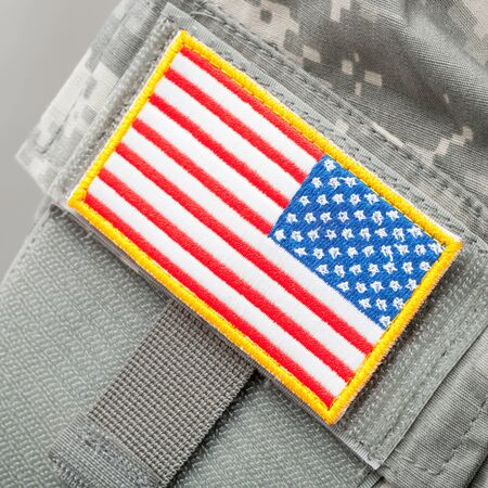 solders: US flag shoulder patch on solders uniform