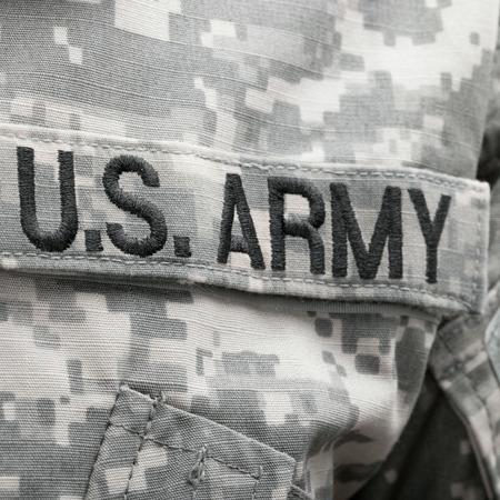 us army: U.S. Army patch on solder uniform