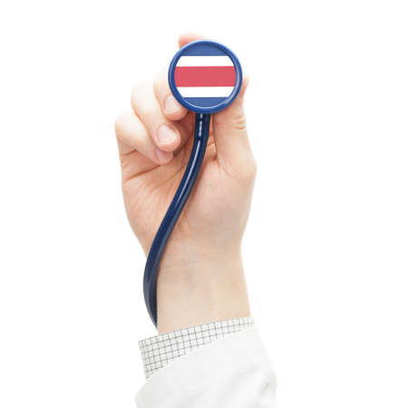 costa rican flag: Stethoscope with flag conceptual series - Costa Rica